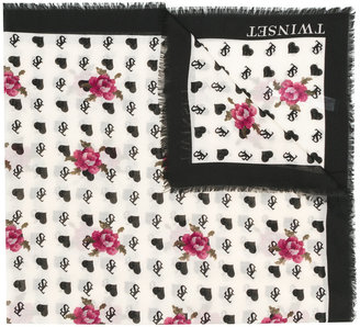 Twin-Set branded rose print frayed edge scarf $76.48 thestylecure.com