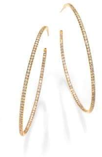 Roberto Coin Diamond& 18K Gold Inside-Outside Hoop Earrings/2.25""