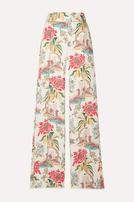 Peter Pilotto Printed Crepe Straight-leg Pants - White