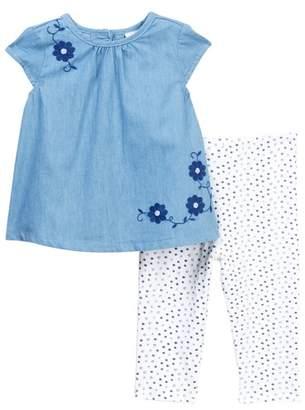 Offspring Flowers Woven Tunic & Legging Set (Baby Girls)