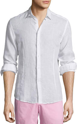 Orlebar Brown Morton Long-Sleeve Linen Shirt, White