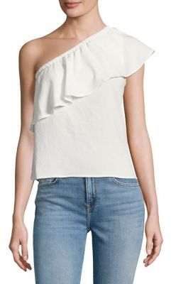 7 For All Mankind Ruffled One-Shoulder Top $139 thestylecure.com