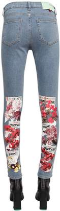 Off-White Off White Skinny Floral Print Stretch Denim Jeans