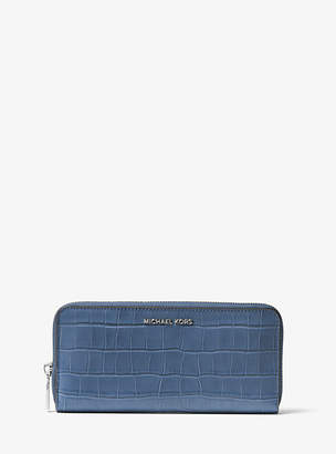 Michael Kors Mercer Crocodile-Embossed-Leather Continental Wallet