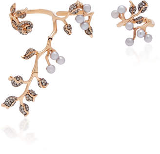 Colette Jewelry Set-Of-Two 18K Rose Gold Pearl And Diamond Rings