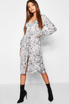 boohoo Snake Print Blouson Sleeve Button Midi Dress