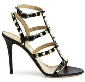 Valentino Rockstud Patent Leather Cage Sandals