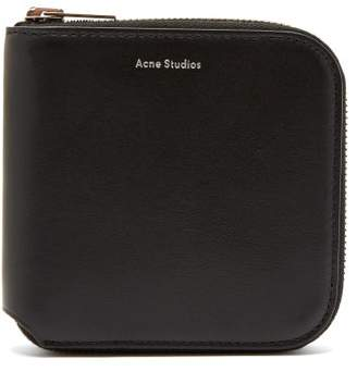 Acne Studios Csarite S Leather Zip Around Wallet - Mens - Black