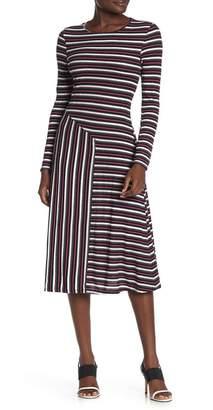 Luna Chix LUNACHIX Long Sleeve Asymmetrical Stripe Dress