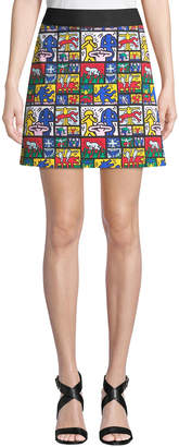 Alice + Olivia Keith Haring x Riley Wide-Waistband A-Line Short Skirt