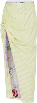 Prabal Gurung Cotton-Blend Seersucker Side-Ruched Skirt Size: 00