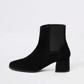 River Island Black square toe block heel ankle boots