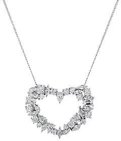 Tova TOVA Diamonique Mixed Cut Heart Pendant with Chain, Sterling