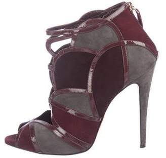 Brian Atwood Suede Peep-Toe Ankle Boots