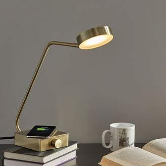 west elm Industrial Metal LED Charging Task Lamp - Brass