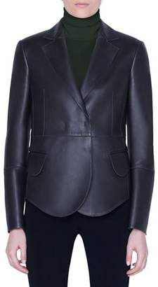 Akris Leather Snap-Front Jacket