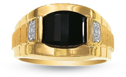 Men's Barrel-Cut Onyx Ring in 10K Gold with Diamond Accents