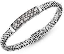 John Hardy Chain Sterling Silver & Diamond Station Bracelet