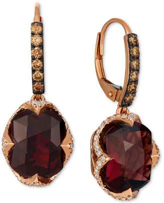 LeVian Le Vian Rhodolite Garnet (9-5/8 ct. t.w.) & Diamond (3/4 ct. t.w.) Drop Earrings in 14k Rose Gold