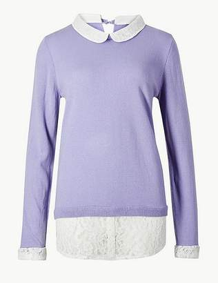 Marks and Spencer Lace Layered Peter Pan Collar Jumper