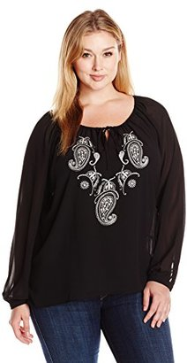 Single Dress Women's Plus Size Embroidered Long Sleeve Peasant Blouse $15.86 thestylecure.com
