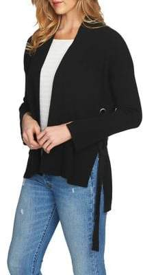 1 STATE 1.STATE Side Lace-Up Ribbed Cotton Cardigan