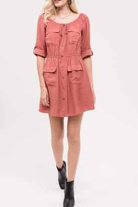 Blu Pepper 3\u002F4 Sleeve Front Pocket Dress