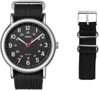 Timex Unisex Special Weekender Slip Through Quartz Watch with Black Strap Bundle