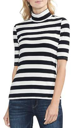 Vince Camuto Ribbed Stripe Mock-Neck Top