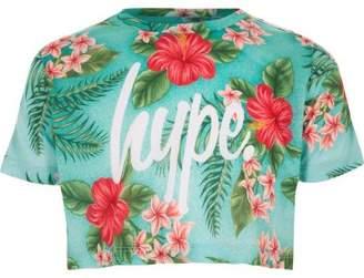 Hype Girls green tropical print crop T-shirt