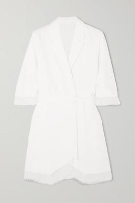 Rime Arodaky Jax Belted Lace-trimmed Crepe Mini Dress - White