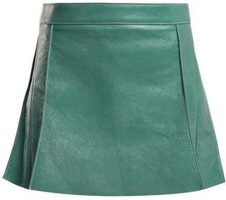 Chloé Pleated Leather Mini Skirt - Womens - Blue
