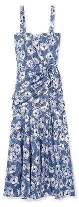 Veronica Beard Marena Gathered Printed Cotton-poplin Midi Dress - Blue
