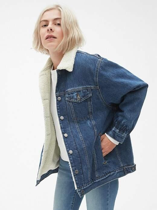 Oversized Sherpa-Lined Icon Denim Jacket