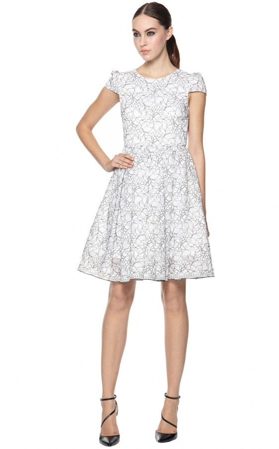 Alice + Olivia Aubree Cap Sleeve Dress