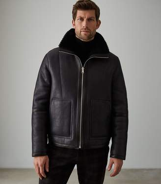 Reiss Our last order date for Christmas has now passed WARRENFORD REVERSIBLE SHEARLING JACKET Navy