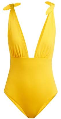 Mara Hoffman Daphne Deep V Neck Swimsuit - Womens - Yellow