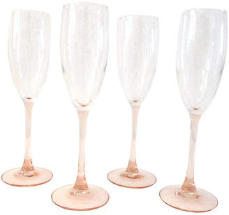 One Kings Lane Vintage French Blush Pink Champagne Flutes - Set of 4 - Osprey Blu