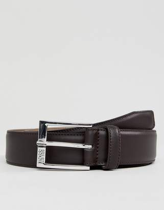 BOSS Smooth Leather Belt in Brown