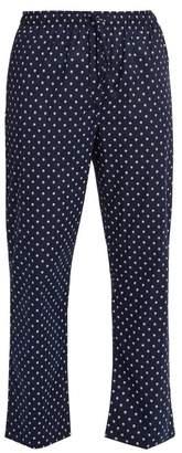 Derek Rose Nelson Polka Dot Cotton Pyjama Trousers - Mens - Navy