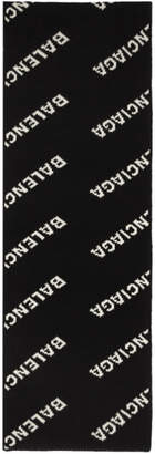 Balenciaga Black and Off-White Jacquard Logo Scarf
