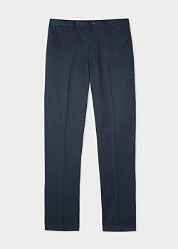 Paul Smith Men's Mid-Fit Navy Stretch-Cotton Chinos