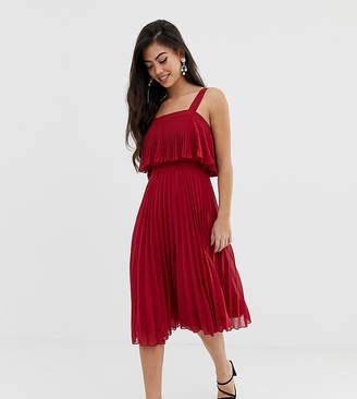 Asos DESIGN Petite double layer pleated midi dress