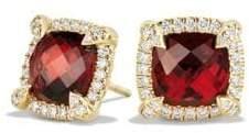 David Yurman Chatelaine Pave Bezel Stud Earring with Garnet and Diamonds