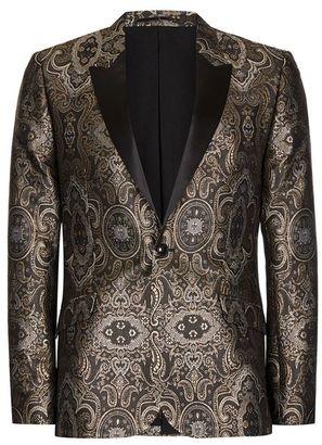 Gold Jacquard Contrast Lapel Skinny Fit Tuxedo Jacket $275 thestylecure.com