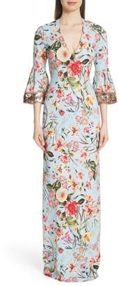 Sachin + Babi Sequin Sleeve Floral Print Gown