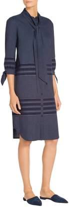 St. John Lightweight Striped Denim Shirt Dress