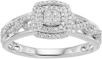 Hallmark Love Found Us Sterling Silver 1/4 Carat T.W. Diamond Cluster Square Halo Ring