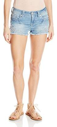 Miss Me Women's Embroidered Mid Rise Denim Short