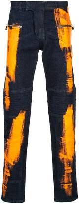 Balmain paint stroke jeans